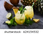 cold pineapple cocktail with... | Shutterstock . vector #624154532