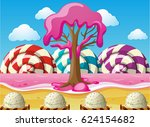 fantacy scene with lollipops... | Shutterstock .eps vector #624154682