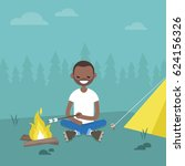 camping in forest. young black... | Shutterstock .eps vector #624156326