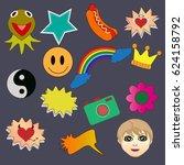 trendy stickers on black... | Shutterstock .eps vector #624158792
