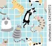 seamless pattern with cute... | Shutterstock .eps vector #624159572