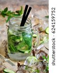 cocktail with cucumber and mint | Shutterstock . vector #624159752