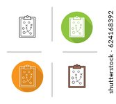clipboard game plan icon. flat... | Shutterstock .eps vector #624168392