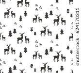 deers seamless pattern  vector... | Shutterstock .eps vector #624170315