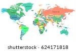 high detailed political map of... | Shutterstock .eps vector #624171818