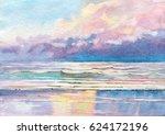 seascape. coast. watercolor.   Shutterstock . vector #624172196