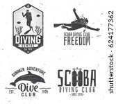 set of scuba diving club and... | Shutterstock .eps vector #624177362