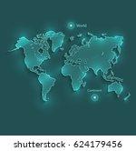 world map light neon vector   Shutterstock .eps vector #624179456