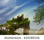 fantasy landscape with cliff ... | Shutterstock . vector #624180146
