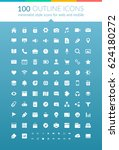 flat web outline icons set with ... | Shutterstock .eps vector #624180272