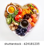 Heart shaped plate of healthy...