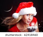 Young Christmas Woman Holding...