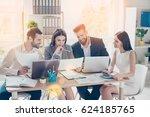 happy smiling businesspeople... | Shutterstock . vector #624185765