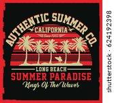 california summer paradise ... | Shutterstock .eps vector #624192398