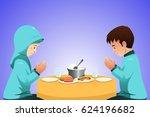 a vector illustration of muslim ... | Shutterstock .eps vector #624196682