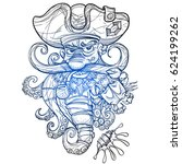 contour drawing of the pirate...   Shutterstock .eps vector #624199262