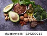 vegan fat sources  flax ... | Shutterstock . vector #624200216