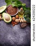vegan fat sources  flax ... | Shutterstock . vector #624200222