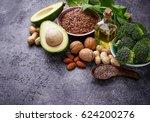 vegan fat sources  flax ... | Shutterstock . vector #624200276