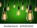 vintage light bulbs on green... | Shutterstock . vector #624202262