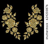 golden roses embroidery neck... | Shutterstock .eps vector #624203876