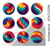 collection of colorful abstract ... | Shutterstock .eps vector #624212396