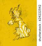 vintage united kingdom map with ... | Shutterstock .eps vector #624222542