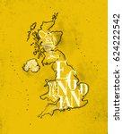 Vintage United Kingdom Map Wit...