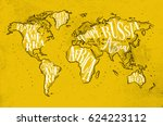 vintage worldmap with... | Shutterstock .eps vector #624223112