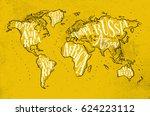 vintage worldmap with... | Shutterstock .eps vector #624223112