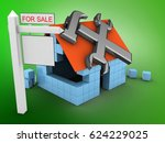 3d illustration of block house... | Shutterstock . vector #624229025
