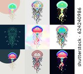 set of jellyfish logos.... | Shutterstock .eps vector #624240986