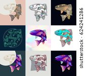 set of fish logos. abstract... | Shutterstock .eps vector #624241286
