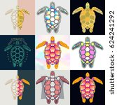 set of turtle logos. abstract... | Shutterstock .eps vector #624241292