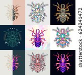 set of bug logos. abstract... | Shutterstock .eps vector #624241472