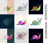 set of snail logos. abstract... | Shutterstock .eps vector #624241592
