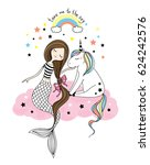 cute little unicorn and... | Shutterstock .eps vector #624242576