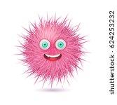 cute pink fluffy monster.... | Shutterstock .eps vector #624253232