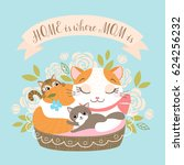 mother's day greeting card or... | Shutterstock .eps vector #624256232