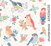 Stock vector seamless pastel pattern of birds with floral elements on dot background 624256235