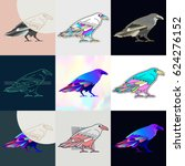 set of raven logos. abstract... | Shutterstock .eps vector #624276152