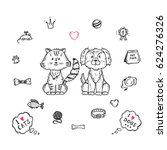 Stock vector vector cute dog and cat together pet item set hand drawn doodle puppy and kitten and accessories 624276326