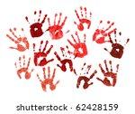 bloody spooky hands print over... | Shutterstock . vector #62428159