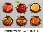 fruit  berries and nuts.... | Shutterstock .eps vector #624282116