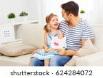 father's day. happy family... | Shutterstock . vector #624284072