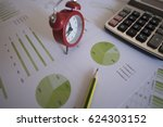 pen on diagram chart and graphs ... | Shutterstock . vector #624303152