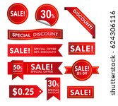 collection of red discount... | Shutterstock .eps vector #624306116