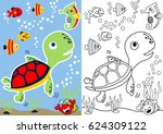 vector cartoon of turtle and... | Shutterstock .eps vector #624309122