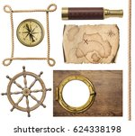 nautical objects rope  map ... | Shutterstock . vector #624338198