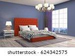 bedroom interior. 3d... | Shutterstock . vector #624342575